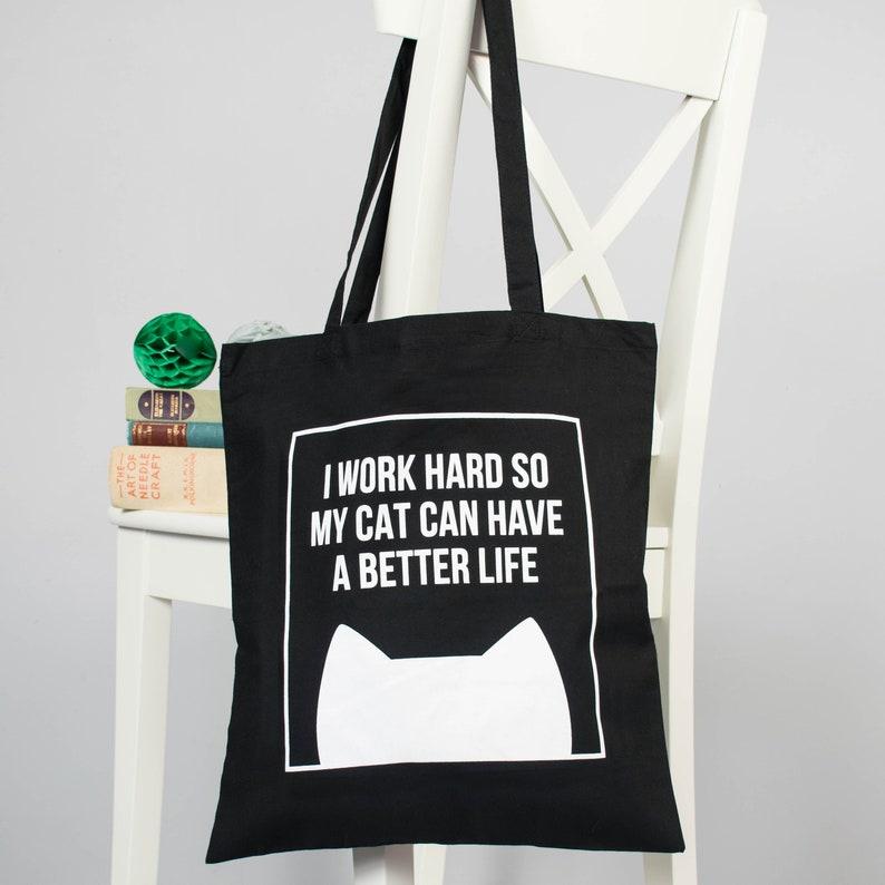Cat tote bag Funny tote bag Cat lover gift Cotton shoulder Cat