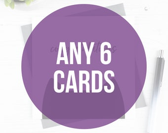 Multipack of 6 greeting cards, funny greeting cards, birthday card, wedding/engagement card, Valentine's Day card, Cards for mum/dad