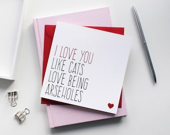Funny Valentine card for boyfriend, Cats love being arseholes cat card