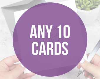 Multipack of 10 greeting cards, Card pack, Funny Valentine's cards, Funny cards, wedding cards, Cards for mum and dad