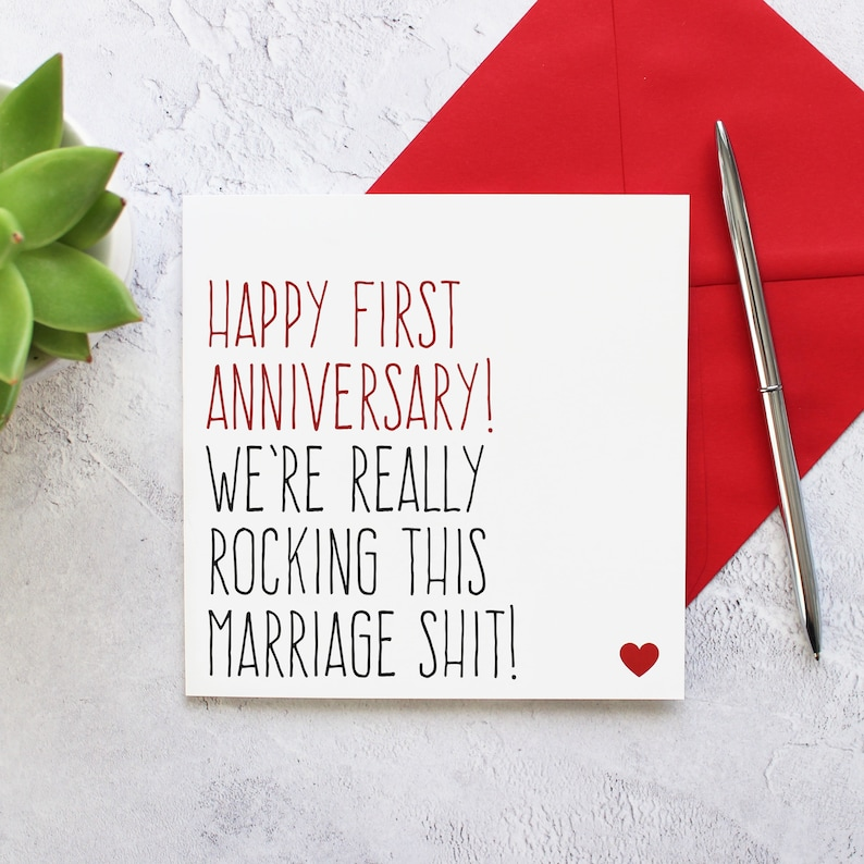 First wedding anniversary card Funny anniversary card image 0