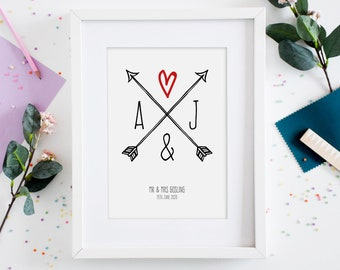 Personalised initials wedding gift, Engagement gift, Home decor print, Housewarming gift for couple, Anniversary gifts