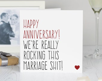 Wedding anniversary card for husband or wife, anniversary gift, Happy anniversary we're really rocking marriage card