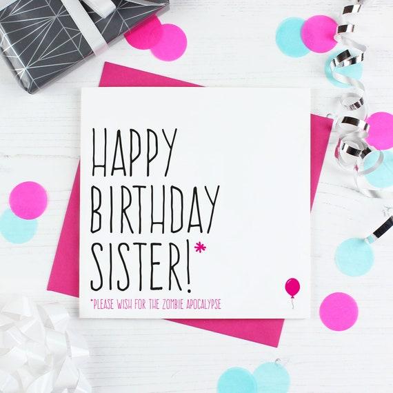 Zombie Geburtstagskarte Fur Schwester Lustige Schwester Alles Etsy