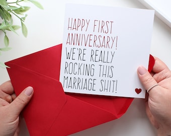 First wedding anniversary card, Funny anniversary card husband, Card for wife, 1 year anniversary, Rocking this marriage shit