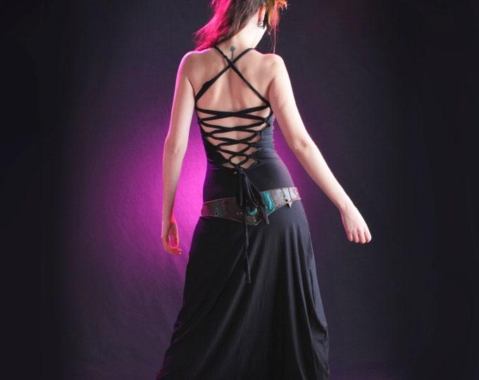 Black Backless jumpsuit. Harem Jumpsuit. Yoga bodysuit. Festival clothing, Goth jumpsuit, festival Jumpsuit. Yoga clothes. Burning man.