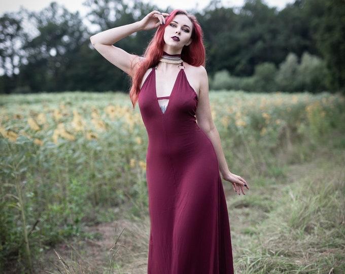 Bordeaux boho dress. Wedding dress. Halter maxi dress. Bohemian long dress. Elegant dress. wedding dress. Festival dress. Burning man