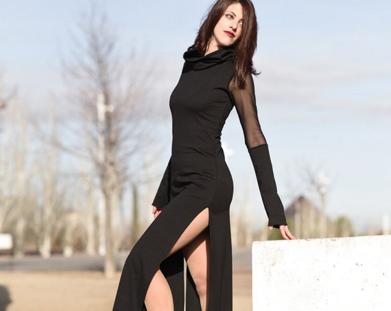 Black maxi long dress. Winter Goth maxi dress. Evening dress. Party dress. Extravagant dress. Minimalist dress. Cyber punk clothes.