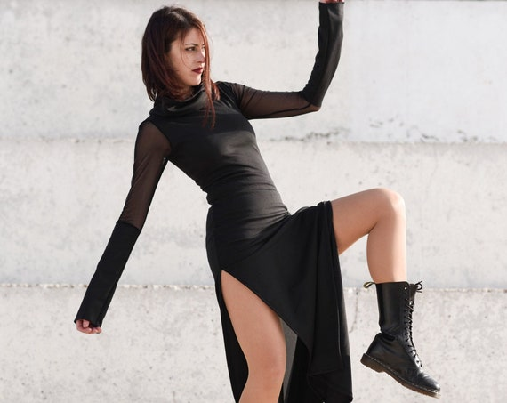 Black maxi long dress. Winter Goth dress. Gothic. Evening dress. Party dress. Extravagant dress. Minimalist dress. Cyberpunk clothes.