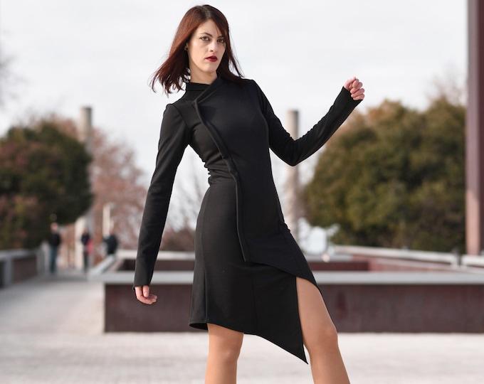 Black futuristic cheongsam dress. Black sleeve asymmetric dress. Goth Steampunk dress. Extravagant black dress. Mao neck dress. Winter dress