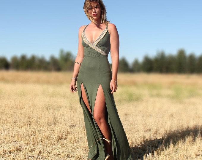 Bohemian green wrap maxi dress. Boho maxi dress. boho tribal maxi dress. Wedding dress. Green maxi dress. Mermaid maxi dress. Party dress