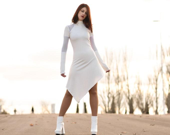 White asymmetric dress. Minimalist dress. Long sleeve turtle neck dress. Extravagant dress, Party dress. Futuristic dress. Goth dress.