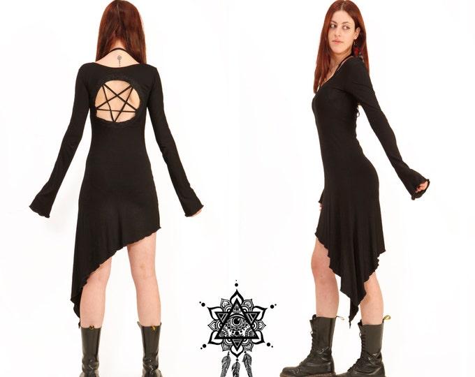 Pentagram dress. Goth dress. Gothic dress, sacred geometry dress, tetragramaton, punk dress, techno punk, cyber punk, black dress, medieval