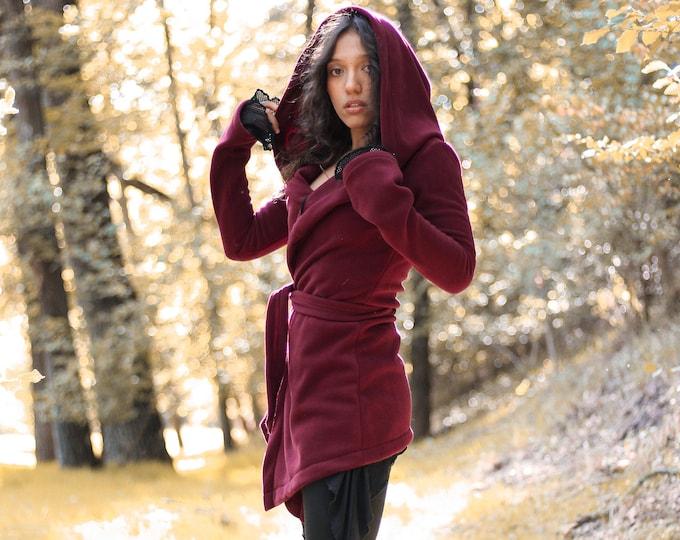 Wine Fleece hooded coat. Long wrap winter coat. Pixie fleece hooded jacket. Pixie coat. Hoodie jacket. Winter fleece jacket. Gothic jacket.