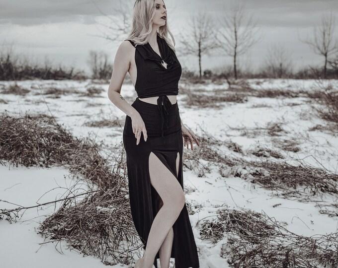 Goth maxi Long skirt double opening. Belly dance skirt. Gothic long skirt. Black maxi skirt. Tribal skirt. Festival skirt. Bohemian skirt