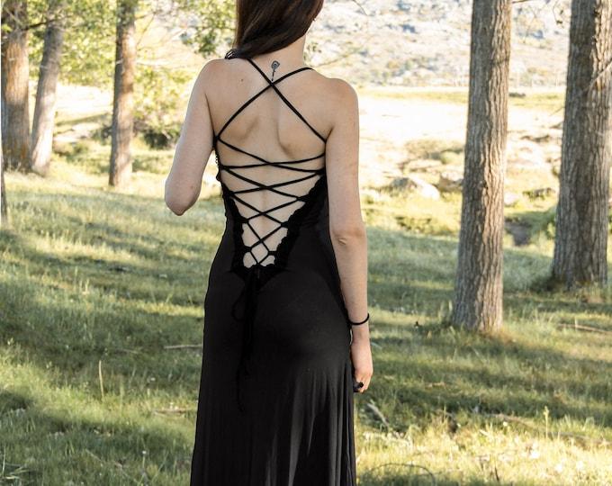 Black Long boho dress. Wedding dress. Medieval dress. backless long dress. Party dress. Game of thrones dress. Medieval clothing. Elven