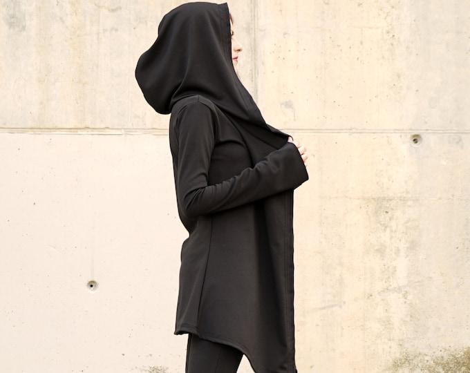 Black hooded jacket. Long wrap winter coat. Gothic hooded jacket. Dark wear. Hoodie jacket. Winter hooded jacket. Goth jacket. Cyberpunk