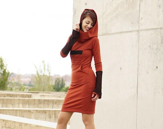 Orange Sweatshirt hooded pencil dress with pockets. Winter hooded sweatshirt. Goth hooded sweatshirt dress. Goth clothing. Cyberpunk dress.