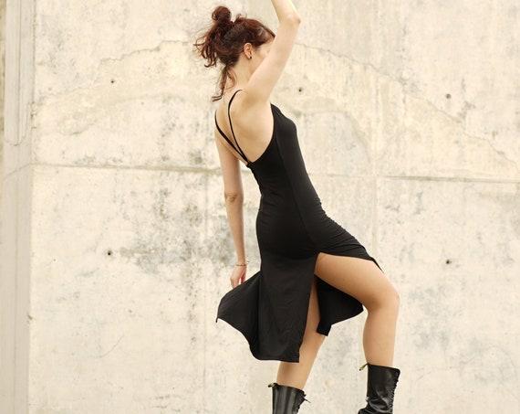 Black Cropped Spaghetti-neck Midi Dress. Gothic dress. Black midi dress. Steampunk dress. Backless cowl neck dress. Punk black dress. Goth