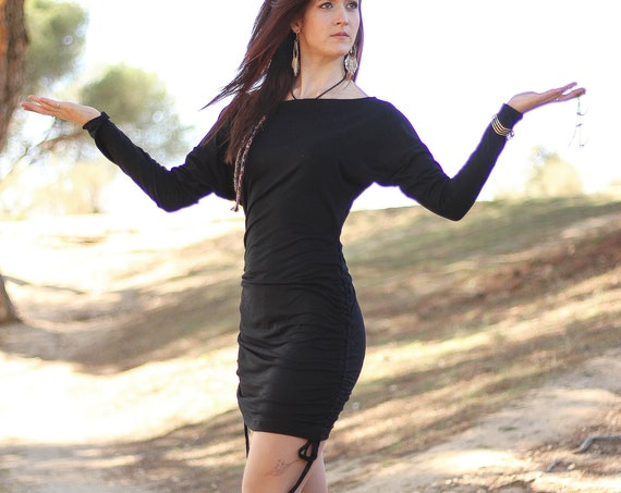Bat sleeve winter dress. Long sleeve dress. Oversize dress. Black oversize dress. Convertible dress. Tunic dress. Casual dress. Long Top