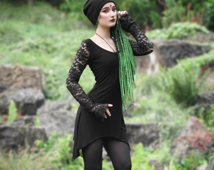 Gothic lace dress. Witchy  dress. Goth dress. Gothic clothing. Pixie dress, Steampunk dress. Medieval dress, goth clothes, faery dress