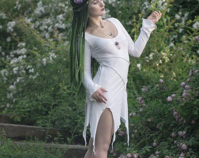 Fairy dress. Elven dress. Goth dress. Game of thrones. Pixie dress. White dress. Elven clothing. Medieval dress. Festival. Tunic dress