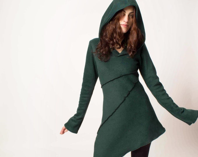 Hooded winter jacket. Goth jacket. Elven jacket. Medieval jacket, hooded coat, Elven clothes. Winter coat. Pixie coat. Game of thrones