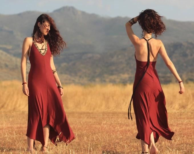 Bohemian wine Maxi dress. Weeding dress. V-neck backless dress. Evening dress. Wedding dress. Hippie chic. Gypsy clothes. Party dress. Boho