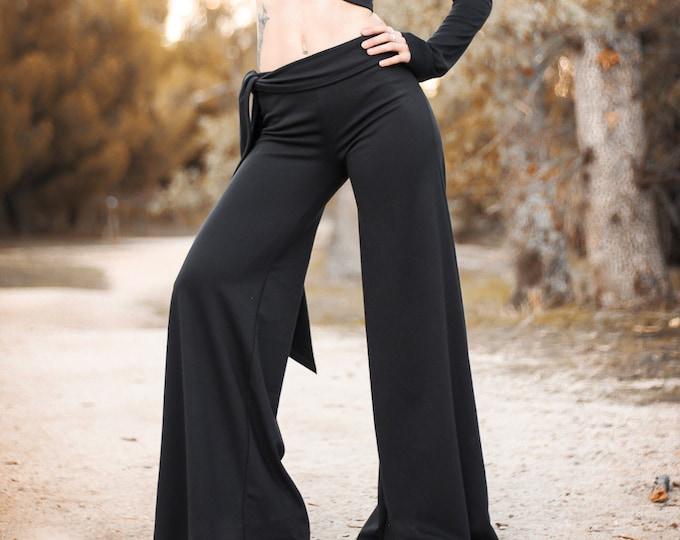 Black Ninja Pants. Maxi wide leg palazzo pants. Belly Dance pants. Ninja flare pants. Trousers. Winter palazzo pants.  Black flares bottoms