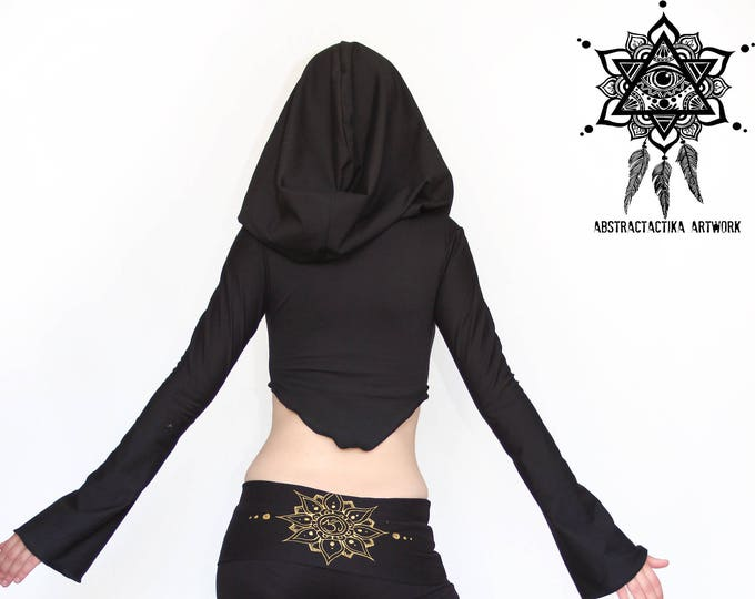 Hooded crop top. Hooded pixie mini top. Goddess little hood top. Elven clothing. Abstráctika Crafts. Hoop clothes. Festival clothes