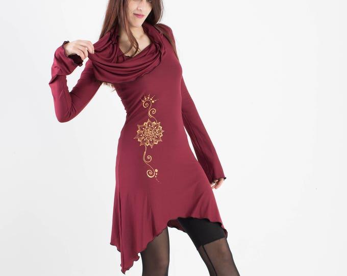Wine Hooded tunic dress. Cowl neck dress. Festival dress. Pixie dress. Mid season dress. Elven clothing. Sacred Geometry, Winter dress.