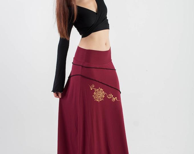 Boho wine long skirt.  Boho clothing. Game of thrones. Gypsy skirt. Fairy skirt. Festival skirt, Pixie skirt, Medieval skirt, Boho.