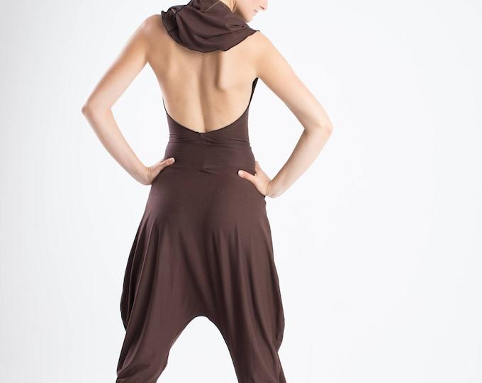 Hooded jumpsuit, yoga romper, backless bodysuit, baggy jumpsuit, Aladdin jumpsuit, yoga wear, Burning man, Festival clothing, harem jumpsuit