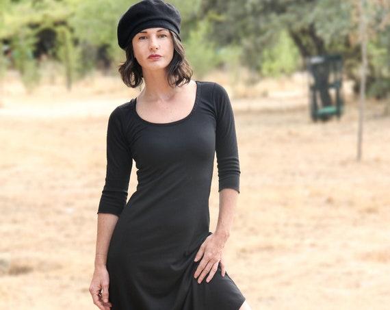 Black Minimalist midi dress. Winter midi dress. Gothic midi dress. Minimal clothes. LBD. Bohemian black midi dress. A line dress.