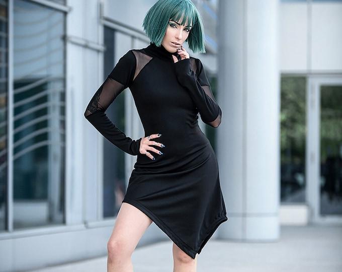 Black asymmetric dress. Minimalist dress. Long sleeve turtle neck dress. Extravagant dress, cyberpunk dress. Futuristic. Goth dress. Punk