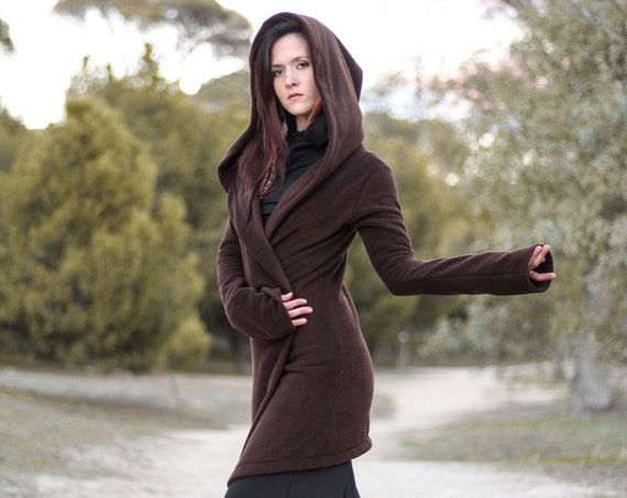 Brown hooded coat. Long wrap winter coat. Medieval fleece hooded jacket. Pixie coat. Hoodie jacket. Winter fleece jacket. Gothic jacket.