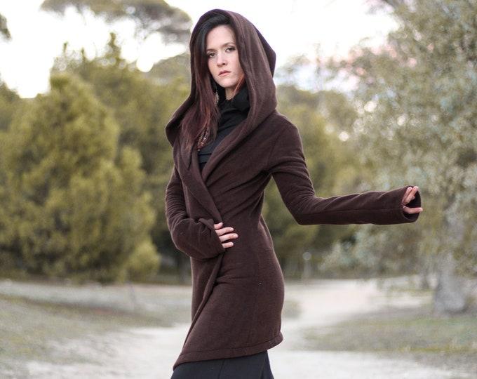 Brown hooded coat. Long wrap winter coat. Medieval fleece hooded jacket. Pixie coat. Hoodie jacket. Winter fleece jacket. Gothic jacket.