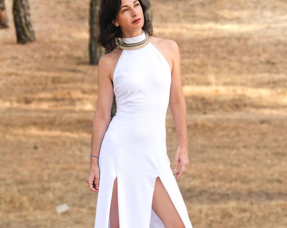 Oshun boho dress. Wedding maxi dress. White long dress. Boho maxi dress. Boho white dress. elegant maxi dress. Halter long dress.