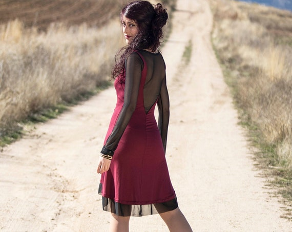 Wine red casual dress / Mesh sleeves dress / Sexy dress / gothic dress / Party dress / day dress / Festival dress / bordeaux dress