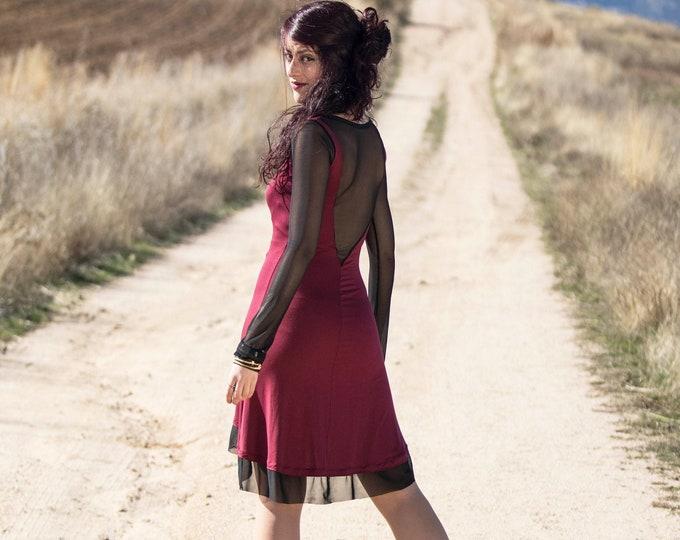 Wine red casual dress / Mesh sleeves dress / Sexy dress / gothic dress / Party dress / day dress / Festival dress / bordeaux dress