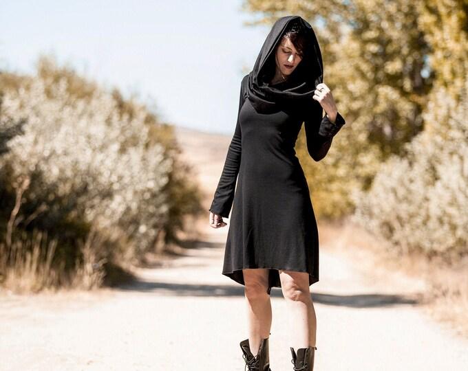 Long sleeve winter black hooded dress. Goth dress. Winter dress. Cyber punk dress. Rave wear dress. Elven hooded dress. Elven tunic dress.