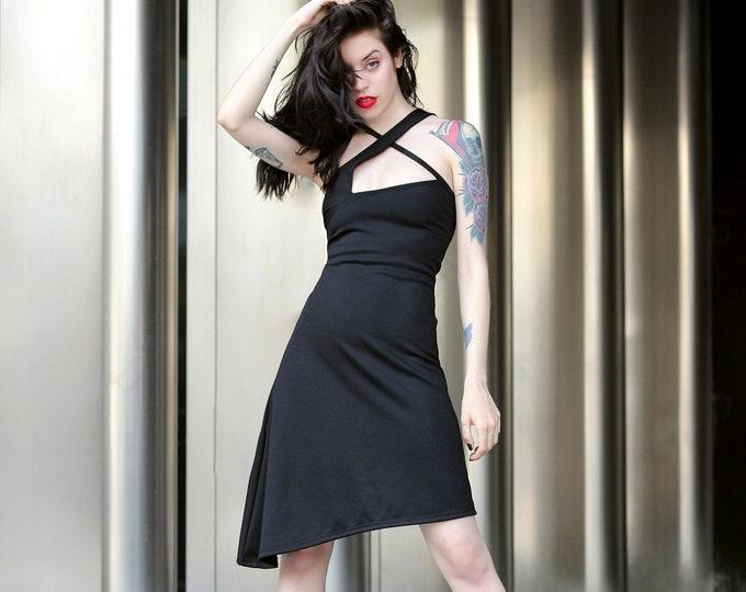 Asymmetrical Neckline Dress, Sleeveless Dress, Stylish Cocktail Dress, Formal Dress, Goth dress, Club dress, Steampunk asymmetric dress,