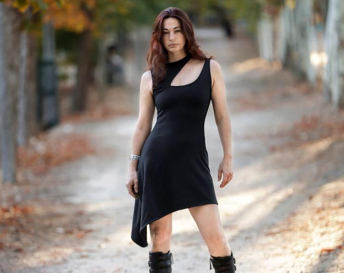 Black futuristic asymmetric dress. Sleeveless futuristic white dress. Star wars dress. Festival dress. Goth dress. Minimalist dress.