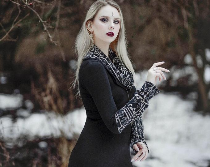 Hooded tunic winter dress, Pixie winter tunic dress, Elven hooded dress, Elven clothes, gothic hooded dress, Cowl neck tunic dress, organic