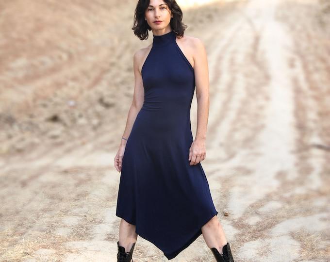 Dark blue halter dress, minimal dress, gothic dress, goth dress, festival clothing, elegant dress, backless dress, minimalist clothing, rave