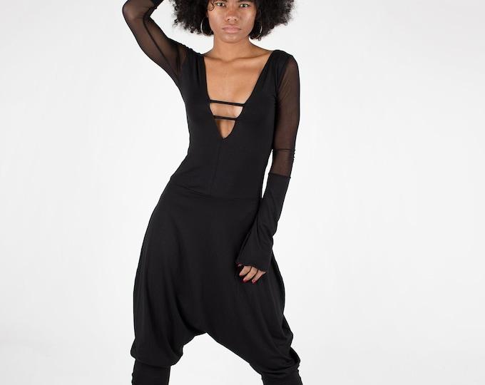 Black Jumpsuit / Women Harem Pants / Black minimalist jumpsuit / Jumpsuit / Black Romper/ Futuristic Jumpsuit/ goth jumpsuit / steampunk
