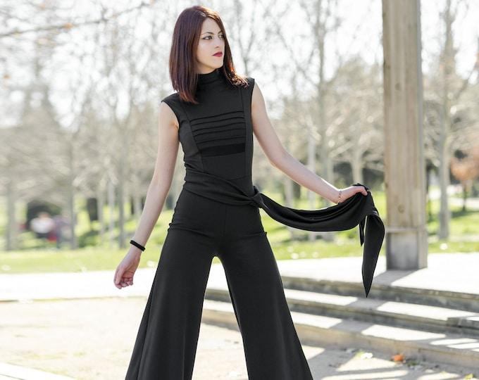 Black wide leg jumpsuit. Minimalist Black jumpsuit. Wedding Jumpsuit. Turtle neck jumpsuit. Evening jumpsuit. Party jumpsuit. Goth clothes