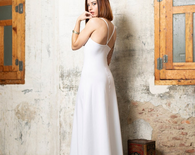 White maxi dress for woman | Open back dress | Evening dress | Prom Dress | Bohemian Clothing | Backless dress | Slip maxi dress| Wedding