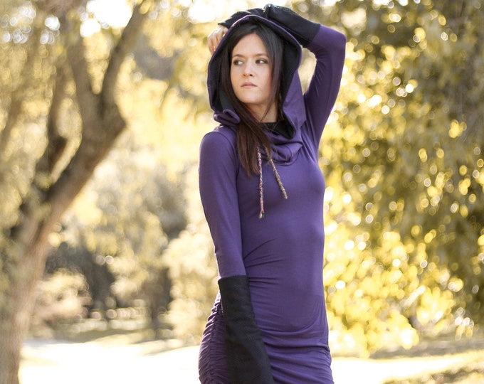 Purple Elven hooded dress. Long sleeve winter hooded dress. Festival hooded dress. Winter faery dress. Burning man dress. Medieval dress