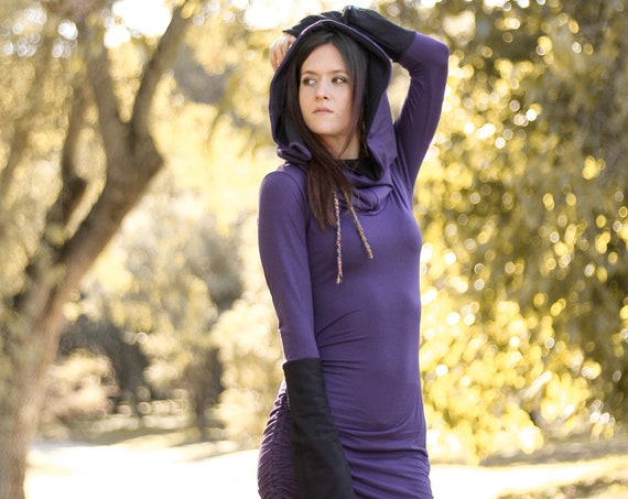 Purple Elven hooded dress. Long sleeve winter hooded dress. Festival hooded dress. Winter faery dress. Burning man dress. Medieval dress